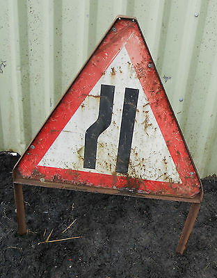 METAL Free STANDING Highway Traffic A-BOARD ROADSIGN Road Sign - ROAD NARROWS