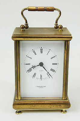 Heavy Vintage Brass MANTLE CARRIAGE CLOCK J Horton & Sons London Quartz England