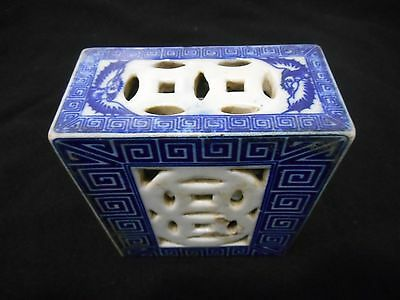 Late 19th Century Chinese Flower Brick Blue Birds & Lions?