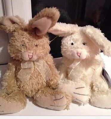 Bunny Rabbit Brothers Two Beanie Baby Collection Bean Bag Plush BNWT Gift