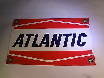 "New Old Stock Atlantic Gasoline Gas Pump Plate Porcelain Sign 9"" X 5.25""   G-421"