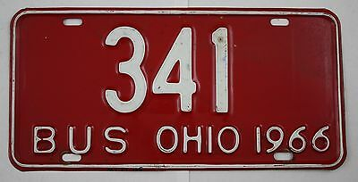 Vintage 1966 Original OHIO License Plate 341 BUS