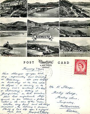a0924 Barmouth, Wales RP postcard posted 1964 stamp
