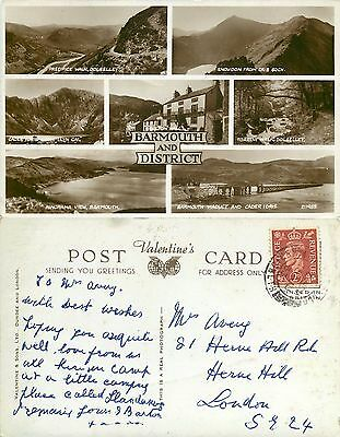 a0957 Barmouth, Wales RP postcard posted 1953 stamp