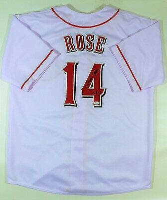 """Pete Rose  Signed Reds Custom White Jersey """"4256"""" Jsa W Authenticated"""