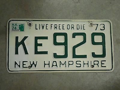 1973 1974 Antique New Hampshire License Plate nice original Tag Live free or die