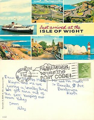 a1212 Multiview, Isle of Wight, England G Dean postcard posted 1977 stamp