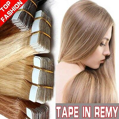 Tape In 60PCS Real Remy Human Hair Extensions  100% Long Skin Weft Seamless HQ64