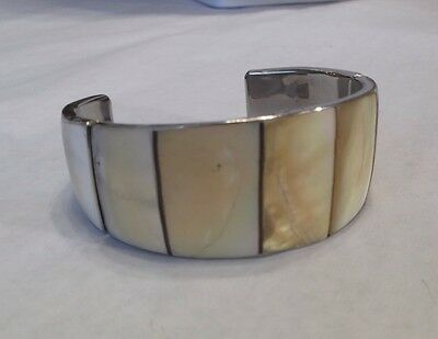 Vintage Inlaid Mother Of Pearl Cuff Bracelet