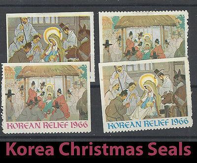 Four Rare KOREA Christmas Seal Stamps from 1966