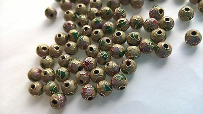 200+ Vintage Cloisonne 6mm Round Beads—Beige with Pink and Green Floral Accent