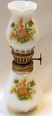 """Vintage Milk Glass Hurricane Lamp with Floral Applique  4.5"""" Tall"""