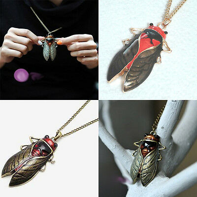 Fashion Women Cicada Pendant Necklace Ancient Bronze Gold Insect Bug Necklace