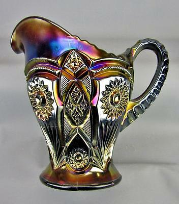 CARNIVAL GLASS - IMPERIAL FASHION Stunning & Scarce PURPLE Water Pitcher