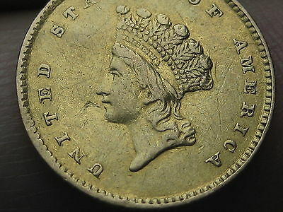 1854 $1 Gold Indian Princess One Dollar Coin- VF Details, Type 2
