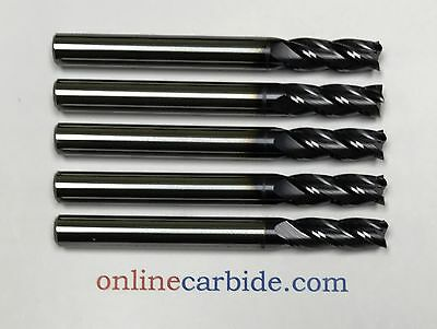 "5 PCS - 1/4"" 4FL CARBIDE END MILL - REGULAR LENGTH - TiALN COATED"