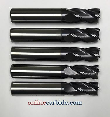 "5 PCS - 1/2"" 4FL CARBIDE END MILL - REGULAR LENGTH - TiALN COATED"