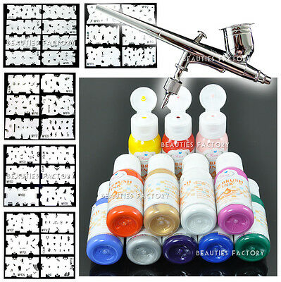 Pro Airbrush Painting Set & 12 Color Paint & Stencil & Nail Art Sticker #235