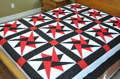 King size QUILT ~Red black and white star  #W-100