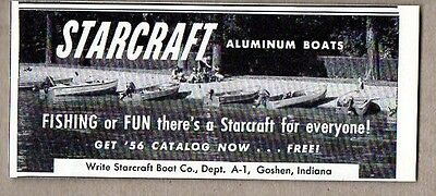 1956 Vintage Ad Starcraft Aluminum Boats Lined Up on Shore of Lake
