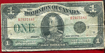 CANADA 1923 LARGE ONE DOLLAR NOTE PICK 33n CAMPBELL/STELLAR  CIRCULATED