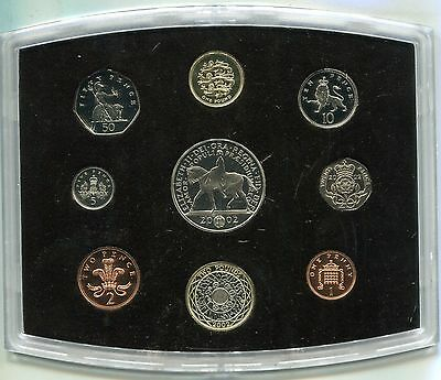 Great Britain 2002 Penny to 5 Pounds, Executive Proof Set w Booklet & Coa in Box