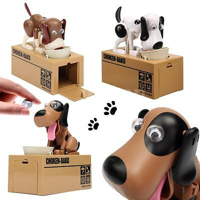 New Puppy Hungry Eating Dog Coin Bank Money-Saving Box Piggy Bank Present #05