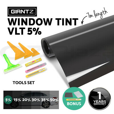 Car Home Window Tint Film Black Roll Glass 760mm*7m 5% VLT + Tinting Tools Kit