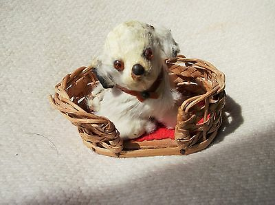 Rare Vintage Small Rabbit Fur Puppy Dog Ornament Glass Eyes In Wicker Basket