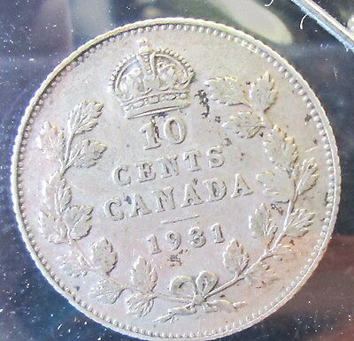 1931 Canada 10 Cents Silver - B210