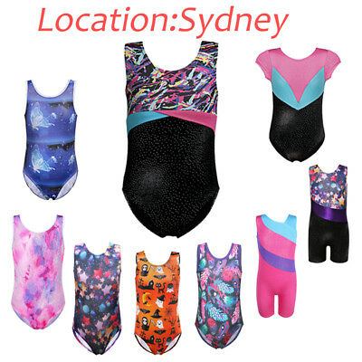 AU Girls Shiny Gymnastics Leotards Ballet Dance Sport Training Tank Suit 3-12Y