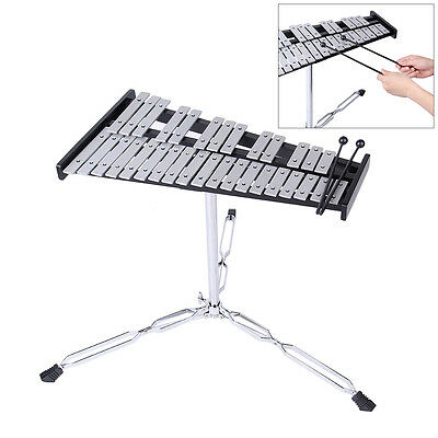 32 Notes Metal Xylophone Aluminum plate With Hammer Stand Instrument Bracket
