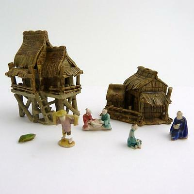 Group Of Chinese Miniature Shiwan Pottery Figures With Two Houses