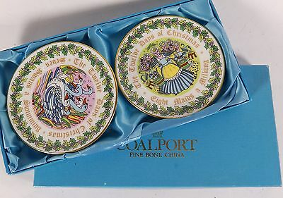 Pair 1983 Coalport 12 Days of Christmas Dishes - 8 Maids / 7 Swans BOXED