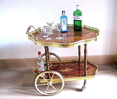 SUPERB KITSCH LARGE RETRO 1960's DRINKS COCKTAIL TROLLEY CART ITALIAN MARQUETRY