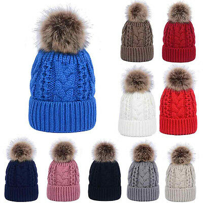 Women's Warm Winter Wool Knitted Hat Fur Pom Bobble Beanie Hat Crochet Ski Cap