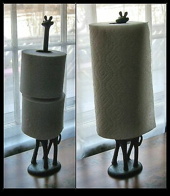 Long Neck GIRAFFE Cast Iron  PAPER TOWEL HOLDER / Toilet Paper Holder ~ New ~