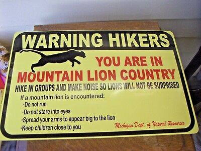 Warning Hikers Mountain Lion Sign