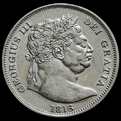 1816 George III Milled Silver 'Bull Head' Half Crown