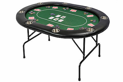 Riverboat TLS Poker Table with Green Speed Cloth Folding Legs and Armrest 152cm