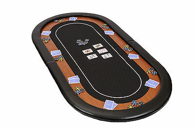 Champion Folding Poker Table Top in Black Speed Cloth 180cm with Leather Armrest