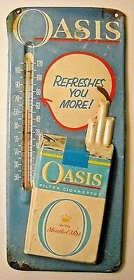 Vintage Oasis Cigarettes Tin Thermometer With Raised Pack Graphic * Uncommon