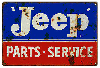 "Reproduction Blue And Red Jeep Parts Metal Sign. 12""x18"""