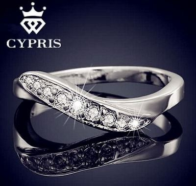 Women's Sterling Silver, White Gold, Cubic Zirconia Crystal 'Noble' Ring
