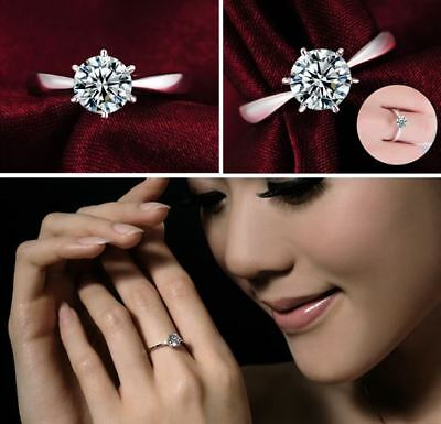 Women's: 18ct Platinum Plated 7mm Cubic Zirconia Crystal Engagement/Wedding Ring