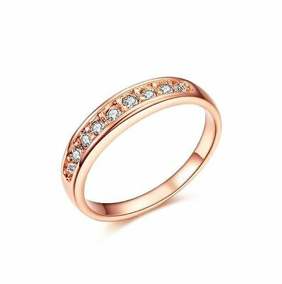 Women's 24ct Rose Gold Plated Cubic Zirconia Gems, 5mm Noble/Engagement Ring