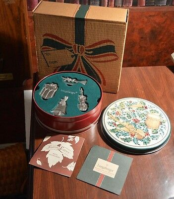 LONGABERGER 2003 Sounds of the Seasons Pewter Ornaments~Gift Tin & Box 28084