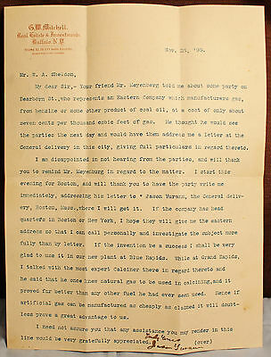 Gw Mitchell Real Estate & Investments Buffalo New York 1895 Letter