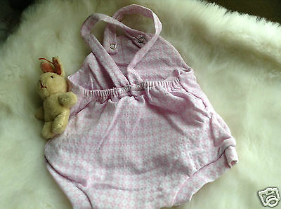 VINTAGE  CLOTHING BABY INFANT CHILDRENS ROMPER 3/6 MONTHS 70s LILAC/WHITE UNUSED