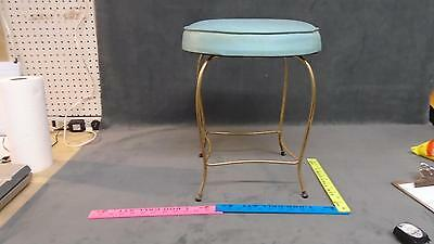 Vintage Brass Vanity Chair Stool Mid Century Boudoir Hollywood color blue